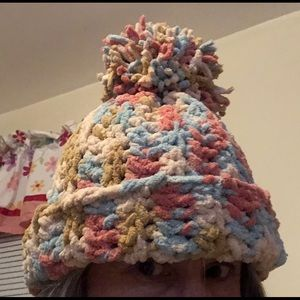 Handmade by me PomPom Hat Chenille Pink Blue
